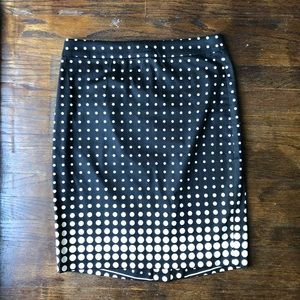 J. Crew The Pencil Knee Length Skirt Dots Size 0